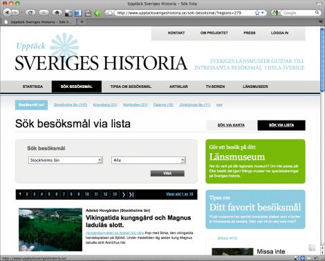 Siten Upptäck Sveriges Historia