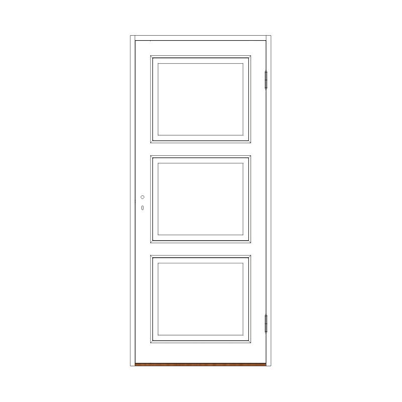 Innerdörr 3-spegel massiv - M9x21 H från Byggfabriken