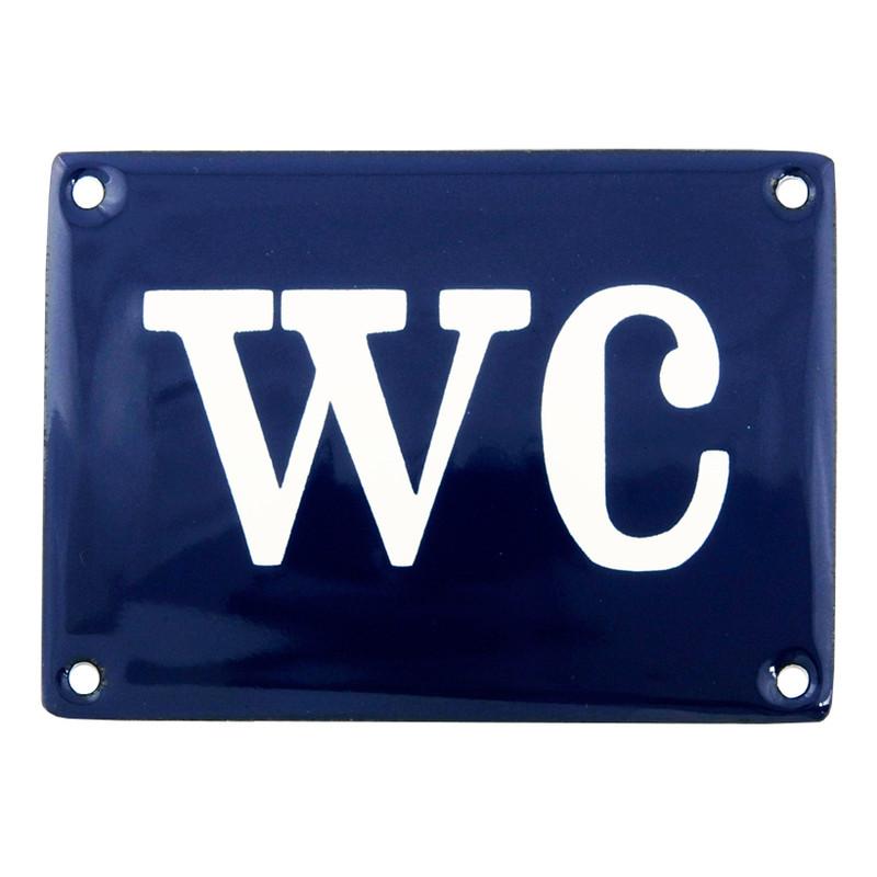 Emaljskylt, WC, Blå från Byggfabriken