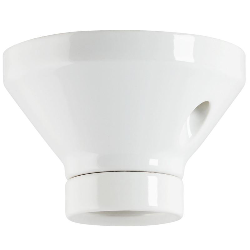 Vit fotlamphållare för takdosa från Byggfabriken