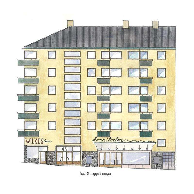 Fasadritning Kungsportsavenyn från Byggfabriken