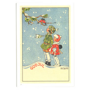 Julkort - Flickor med domherrar från Byggfabriken