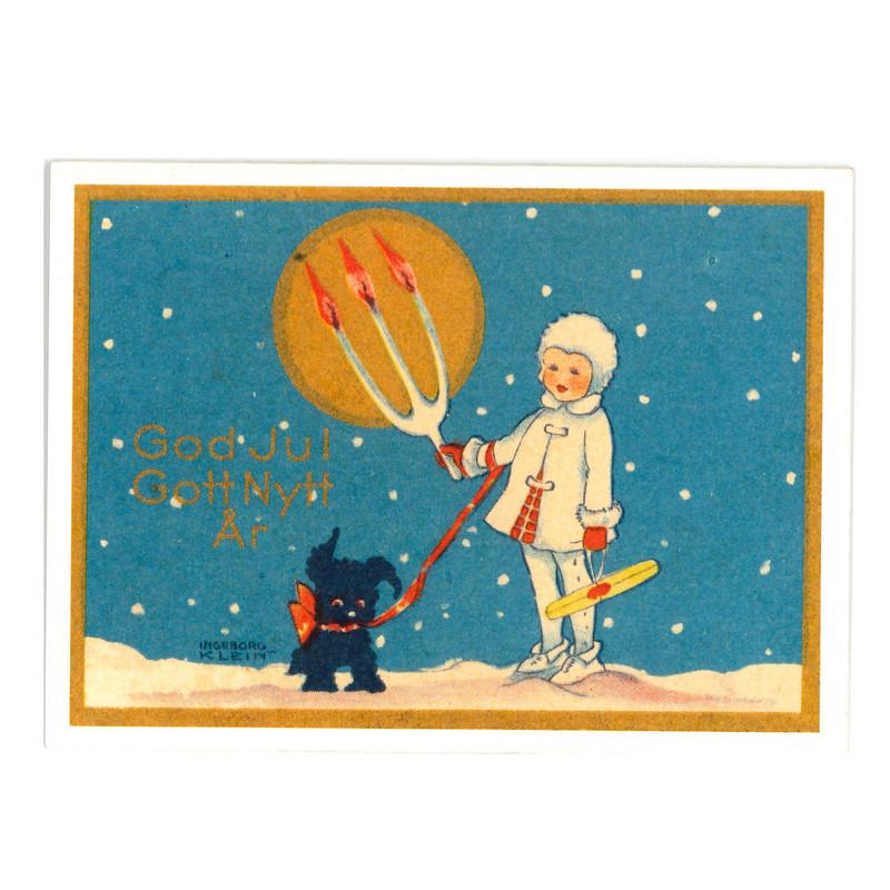Julkort - Flicka med hund från Byggfabriken