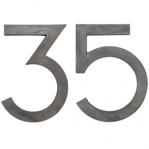 Husnummer funkis i koppar
